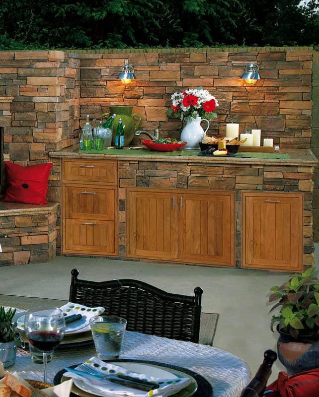 Teak wood Barbecue Island doors and drawers